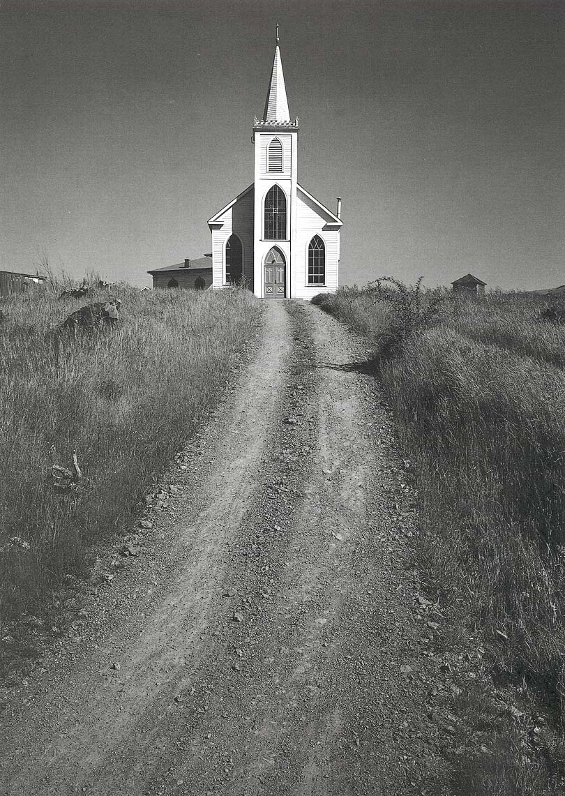 Ansel Adams, Church and Road, Bodega, California  c. 1953. Thank you, iamjapanese & arsvitaest.