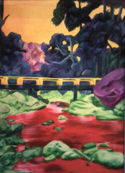 """Fauvist's River"" - Lordiclaire Lovie water soluble pastel on canvas paper 2009 50x25cm"