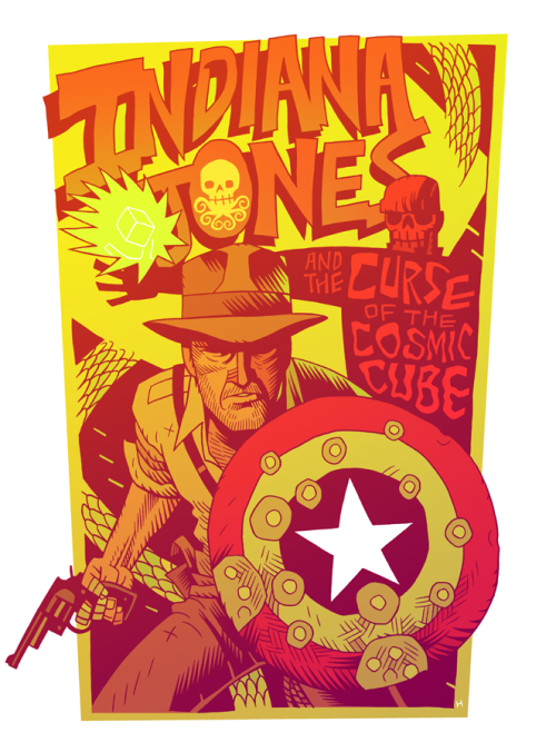fuckyeahmelancholy:  mrhipp:  INDIANA JONES and the Curse of the Cosmic Cube  Well, someone has to comfort Peggy after Cap's gone…