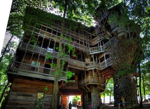 Treehouse's were the coolest thing when I was a kid! I can only imagine how amazing it would be to visit this :) superstarling:  The World's Tallest Treehouse Construction began in 1993 when Horace Burgess believed that God spoke to him to build the treehouse. Now in 2011, the treehouse is 10 stories tall and officially measures as the tallest treehouse in the world.