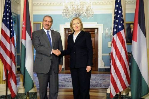 U.S. Secretary of State Hillary Rodham Clinton shakes hands with Jordanian Foreign Minister Nasser Judeh after their bilateral meeting, at the U.S. Department of State in Washington, D.C., on April 12, 2011. [State Department photo/ Public Domain]