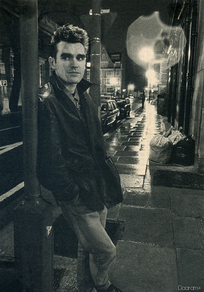 "Morrissey from: The Smiths. From one of the very first article+interview I've read about: The Smiths in a French magazine called: ""Actuel"" in 1983.Photo: Daniel LainéScanned from my personal archives & retouched by: Olivier Daaram 04/2011"