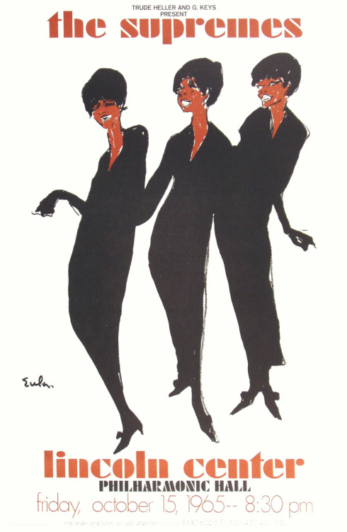 vintageblackglamour:  An advertisement for The Supremes at Lincoln Center's Philharmonic Hall, Friday, October 15, 1965, 8:30 p.m.