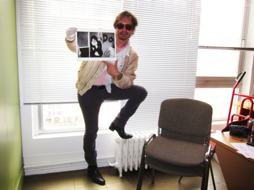My twin brother Olivier Zahm in his Purple Institute office in Paris today. Olivier is holding up my print of Joan Jett backstage at The Whiskey A Go Go circa 1977. The print was a gift and I know that it will be placed in a good home.  Photo by Brad Elterman