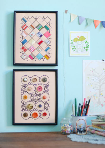 DIY Sewing notions display art! The button art is so great!