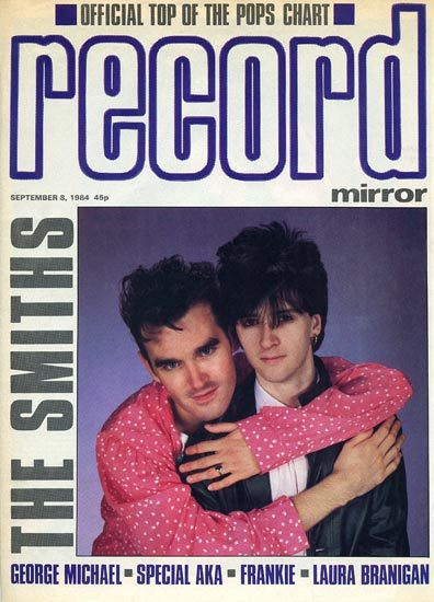 "Morrissey & Johnny Marr on the cover of the magazine: ""Record Mirror"" September 8th 1984. Scanned from my personal archives, Olivier Daaram 04/2011"