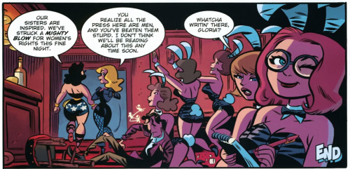 In the process of  beating up the patrons of a Playboy Club with Black Canary, Wonder Woman gave a speech on female liberation and accidentally set her eagle bra thing on fire. From Justice League New Frontier Special.