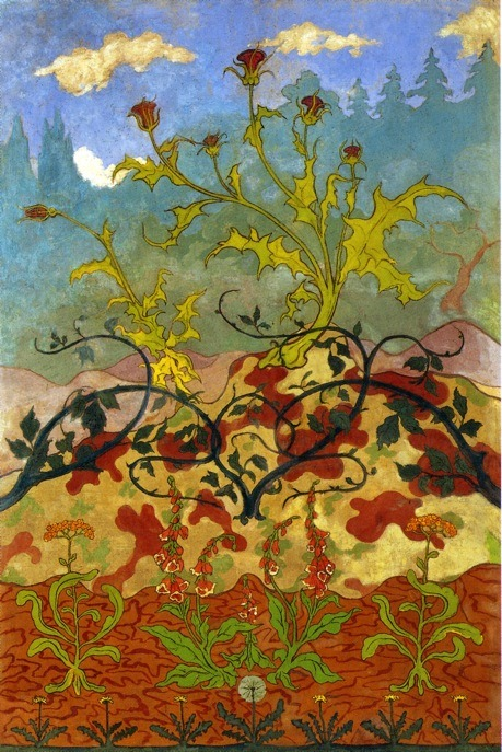 "Paul Ranson  ""Iris and Large Yellow and Mauve Flowers"""