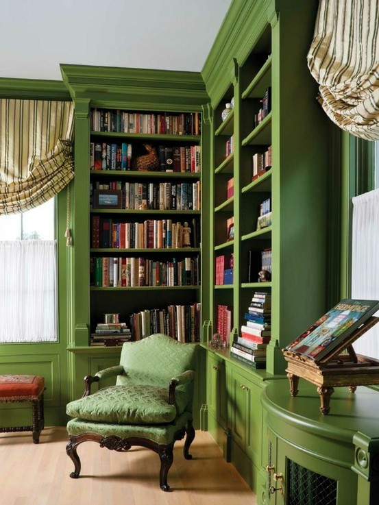 Hel-lo, gorgeous green! Charles Spada's library is the perfect oasis.