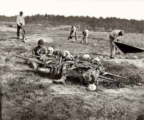 "Via Shorpy: ""April 1865. 'Cold Harbor, Va. Collecting bones of soldiers killed in the battle.' Photograph from the main Eastern theater of war, Grant's Wilderness Campaign, May-June 1864. Wet plate glass negative by John Reekie."""