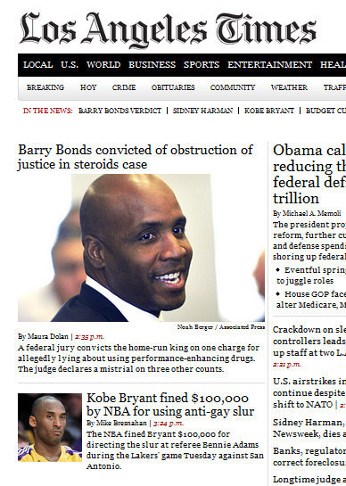 "reblogged via thatlameblog:  LATimes.com Homepage: Wednesday, 3:56pm PDT, April 13, 2011 ""I am not a role model."" Indeed."