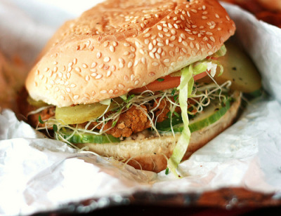 Lentil veggie burger (via SweetOnVeg)