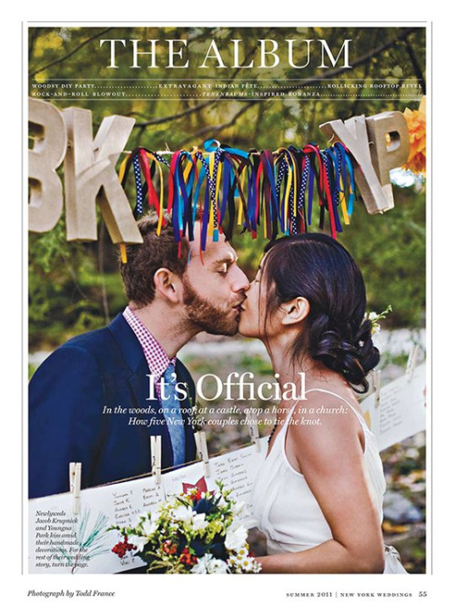Our nuptials are featured in the Wedding Issue of New York Magazine. Hooray! (Photo by Todd France).
