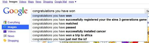 Is this a meme, or something? I was searching for some 'congratulations you have won' sort of thing, but before I was done typing, this popped up. What is this? I don't even..?
