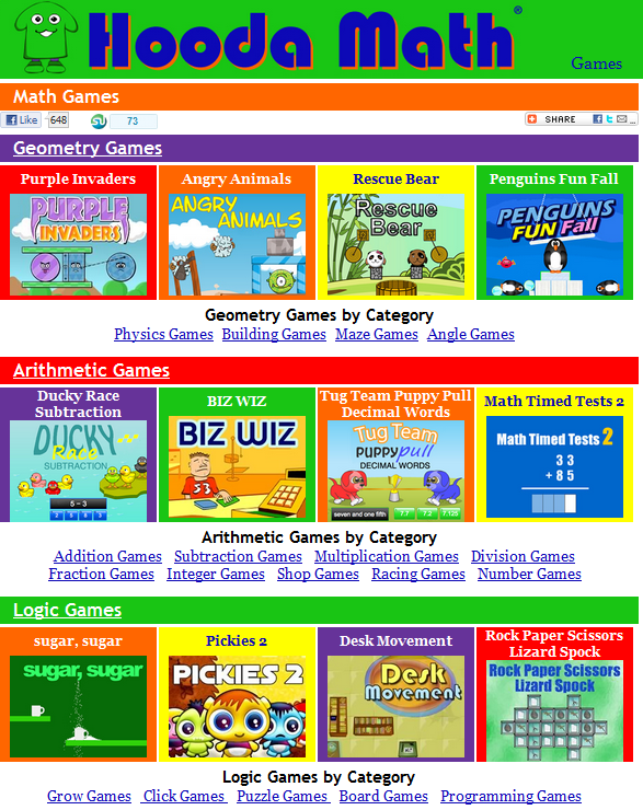 "HoodaMath has a fantastic collection of games for Arithmetic, Geometry, and Logic. They also have a nice collection of tutorials, videos, and worksheets. Have you tried ""Angry Animals""? Great knock-off of you know what. You can find HoodaMath along with many other great Math sites in my Marvelous MathSites LiveBinder."