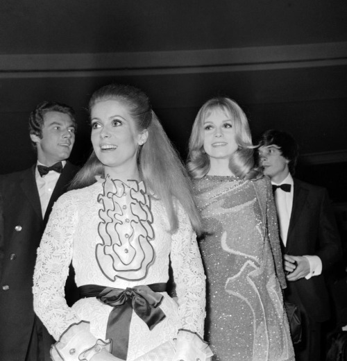 Catherine Deneuve in Givenchy & Francoise Dorleac in Christian Dior, March 1967.