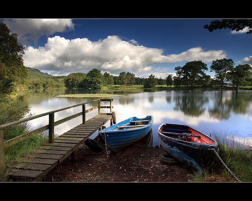 Boats & Summer Clouds - Stair Dam (by angus clyne)