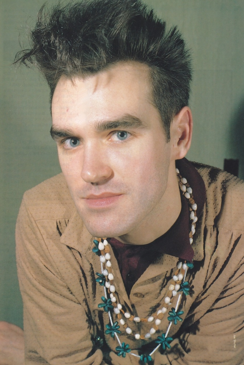 morrissey-scans:  From Japanese magazine Gargoyle, May 1988. Photograph by Joe Shutter. Download full size scan HERE (2.66MB).