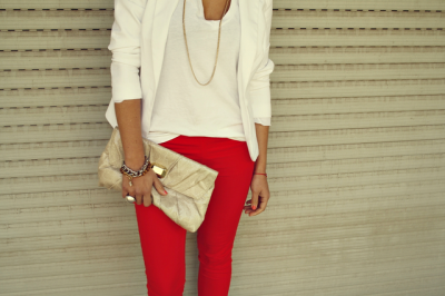stay cool in white. this is euro style white top paired with some flaming red jeans. for some reason i feel like this outfit would make me feel cooler on a hot summer day. time to find me a pair of red jeans.
