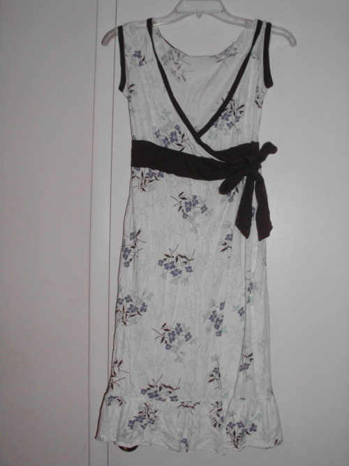 White/brown/blue floral dress. $15/trade.