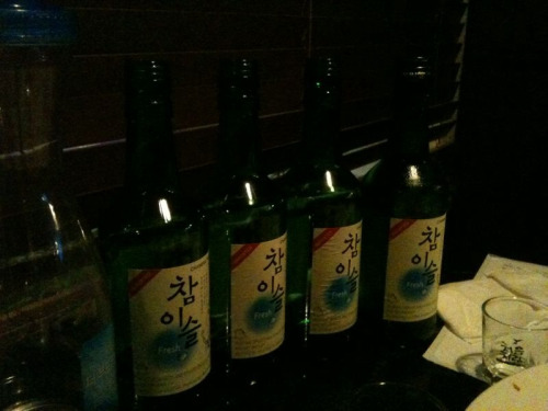 4 bottles of chamisul fresh soju…
