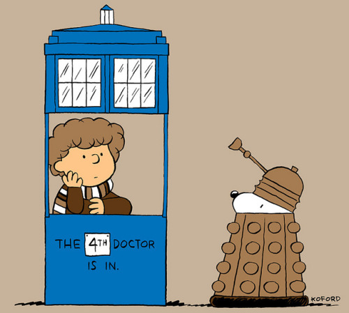 laughingsquid:  The 4th Doctor Is In, Peanuts Meets Doctor Who  hehe