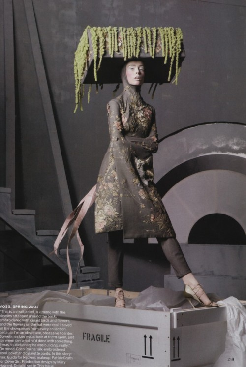"Vogue US - May 2011 Title: Alexander the Great Photographer: Steven Meisel Fashion Editor: Grace CoddingtonGiant boxes the size of elephant containers arrived in New York earlier this year. I was there as they were unpacked - rather than contain exotic animals, these crates were filled with some of the most imaginative and stunning pieces of clothing ever created. The archive of Alexander McQueen. I'm very honored to have been a part of this historic McQueen retrospective for Vogue magazine and I'm extremely excited about this year's Metropolitan Museum of Art's Costume Institute's exhibit: ""Alexander McQueen: Savage Beauty."" The Gala event is May 2nd and so I have one question to ask you all: What ON EARTH do I wear to this event?!"