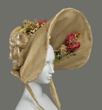 1830s Bonnet, Boston Museum of Fine Arts.  I love this bonnet!  It is HEEEnormous but otherwise pretty reserved compared to other bonnets from the 1830s.  For example…