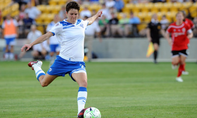 A determined Keelin Winters of the Boston Breakers scores one of their 4 goals in a 4-1 win over Atlana on opening day weekend of the WPS season.