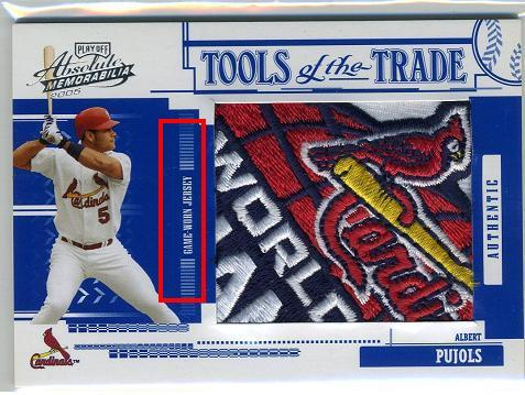 According to the The Card Blog, this is a fake patch.  There's a variety of reasons that make the card blatantly fake, but here's my favorite…  But the Cardinals won the World Series in 2006. Obviously there's no way a game used patch from 2006 could make it into a card issued in 2005.