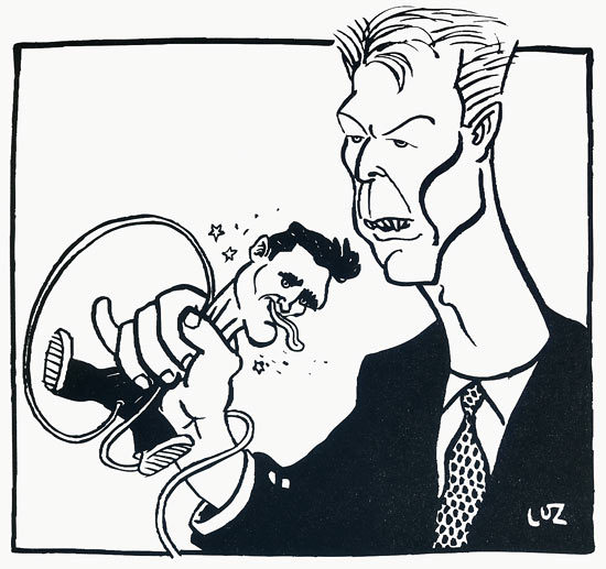 "His master's voice: An illustration by: Luz, showing David Bowie ""using"" Morrissey as a Microphone. It was at the time when Bowie did a cover of Morrissey's song: ""I know it's gonna happen someday"" written in 1992. From the French magazine: Les InrockuptiblesScanned from my personal archives, Olivier Daaram 04/2011"