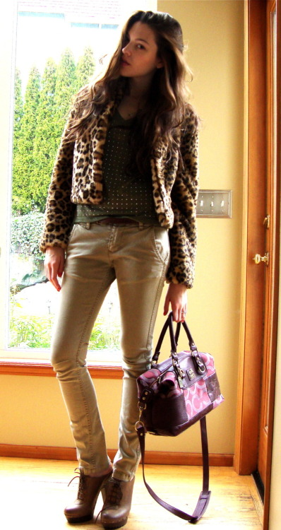 Look of the day  Trouve' Leopard coat, Gibson V-neck, William Rast Chinos, Sam Edelman Clogs and Coach handbag.