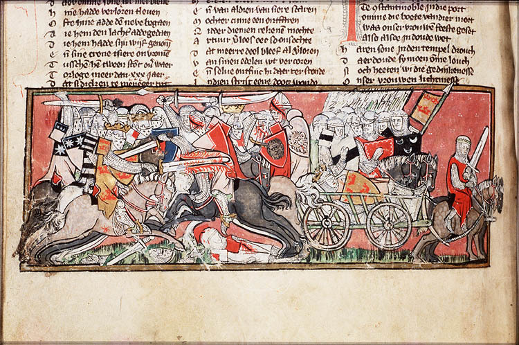 image: Transporting the wounded Arthur by carriage, Spieghel Historiael (The Hague, KB, KA 20, fol. 163v), c. 1325-1335 The medieval carriage was typically a four-wheeled wagon type, with a rounded top ('tilt') similar in appearance to the Conestoga Wagon familiar from the USA. Sharing the traditional form of wheels and undercarriage known since the Bronze Age, it very likely also employed the pivoting fore-axle in continuity from the ancient world. Suspension (on chains) is recorded in visual images and written accounts from the 14th century ('chars branlant' or rocking carriages), and was in widespread use by the 15th century. Carriages were largely used by royalty, aristocrats (and especially by women), and could be elaborately decorated and gilded. These carriages were on four wheels often and were pulled by two to four horses depending on how they were decorated (elaborate decoration with gold lining made the carriage heavier). Wood and iron were the primary requirements needed to build a carriage and carriages that were used by non-royalty were covered by plain leather.