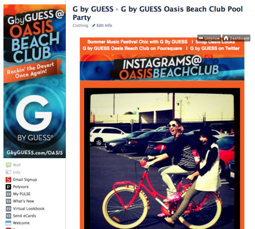 Today we launched a fun Instagram program for our client G by GUESS on Facebook! Their team will be posting behind the scenes photos via the Instagram app to fans from this weekend's festivities at the G by Guess Oasis Beach Club in Palm Springs, CA. The photos will live on a tab on the brand's Facebook Page, iframed in from a custom Tumblr account.