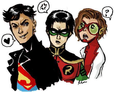 assguard:  rosevirus:  the Young Justice original trio-hellooo boys (btw I really love my new tablet!)  hahah perfect speech bubbles