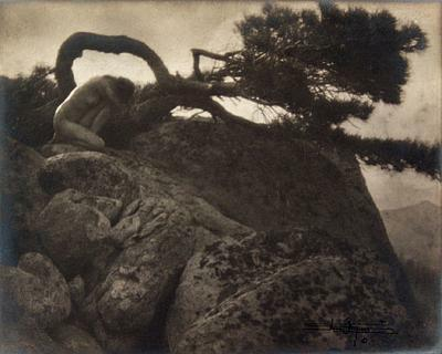 """The Lone Pine"" by Anne W. Brigman 1908. This image captures the essence of the Photo-Secession movement which she helped lead. Many of her most famous photos, which were taken between 1900 and 1920 depict nude women in natural contexts. Her work helped to promote photography as a fine art.  The image defies cultural norms accepted conventions, but it is organic and natural at the same time."