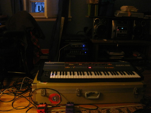 holy shi- my newly copped roland juno-106 my first analog synthesizer with a nifty hard case to play on!   this is amazing.  what a wonderful night to jam on with the window open.