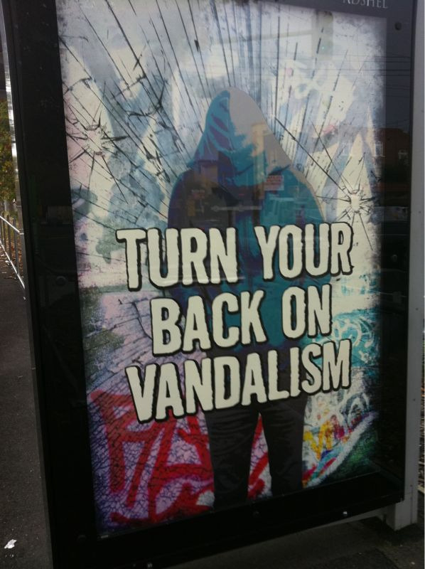 This makes no sense. Are they talking to the vandalisers or to me? If they're talking to me they're telling me to turn a blind eye… Which isn't going to solve the issue!
