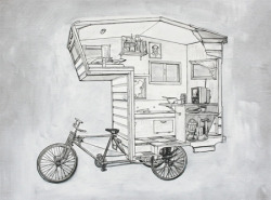 Camper Bike for those who enjoy there life on the go!! It's a sculptural piece by Kevin Cyr.