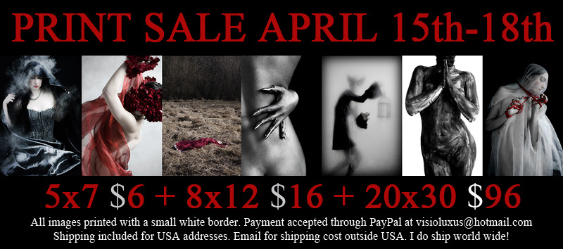 visioluxus:  Print sale! All the details are at my LJ, just click on the picture. Thanks!  I've worked with Visioluxus for a few years now and not only is she a great photographer to model for but the quality of her photos in real life even outweighs how nice they look online. My house is full of prints I've bought from her, they are prized possession. If you want to get some for yourself, she is having a MASSIVE sale right now!