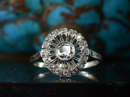 eriebasin:  1930s Art Deco ~0.35ct Transitional Cut Diamond Sunburst RingPlatinum, ~0.25ctw Single Cut Diamonds, $1950