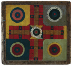 Antique Parcheesi game board. Found here.