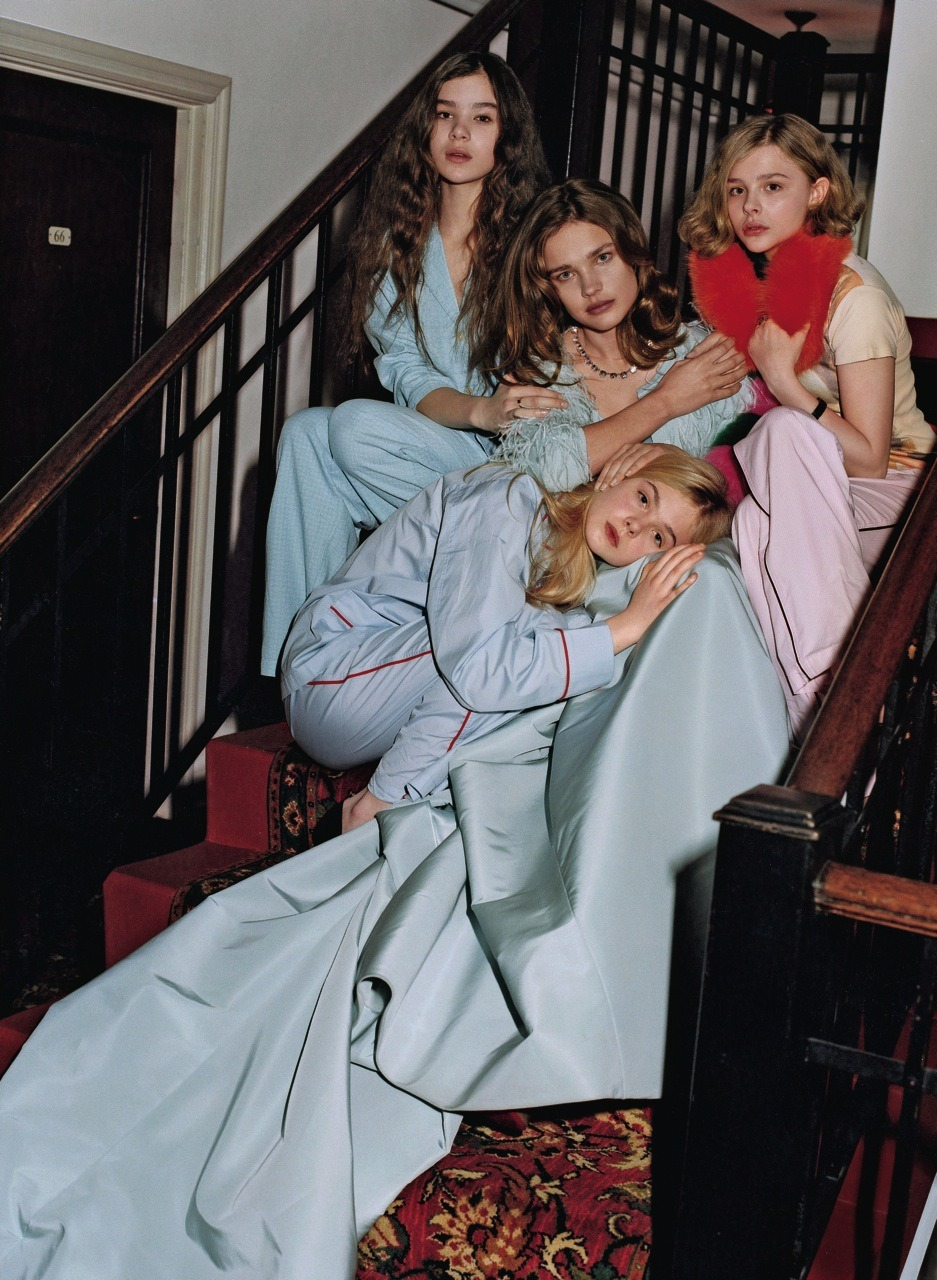 Natalia Vodianova, Hailee Steinfeld, Elle Fanning, and Chloë Moretz Photographed for the May issue of Vogue by Bruce Weber