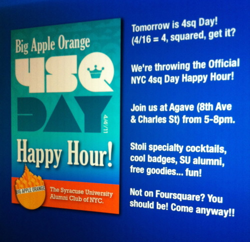 We hope to see everyone tomorrow in the West Village for our #4sqDay happy hour! It's gonna to be fun. Lot's for surprises!