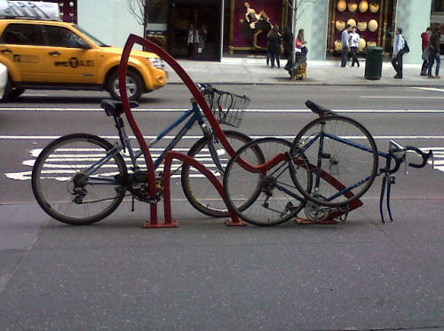 Bike rack in front of Bergdorfs.