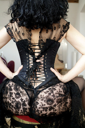 I find this very sexy, but feel the corset needs to be tightend more.  mydirty:  the sexiest thing a woman can ever wear is black lace.