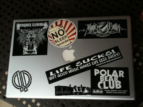 wastedhearts:  Reblog with pictures of your stickered up laptop and/or computer!  I'll start.  My Late 2006 MacBook I love the KAWS sticker I purchased in a pack from St. Alfreds and the Dr. Dre stickers I got at FlatStock 15 from the 2009 Pitchfork Festival. The musical act stickers came from the vinyl packaging.My Mid 2010 MacBook ProI love the KAWS Chum sticker on this one, which is also a part of the pack from St. Alfreds. I probably won't put much on this laptop until I find more clear vinyl stickers with great color, like Chum.