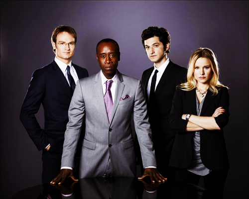 The first promotional photo for Kristen Bell's new show 'House Of Lies' Also pictured: Josh Lawson, Don Cheadle and Ben Schwartz