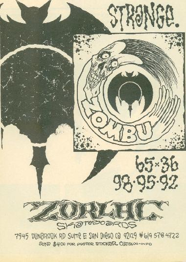 Old ad for Zorlac wheels. I think Pushead did the design on the wheel.