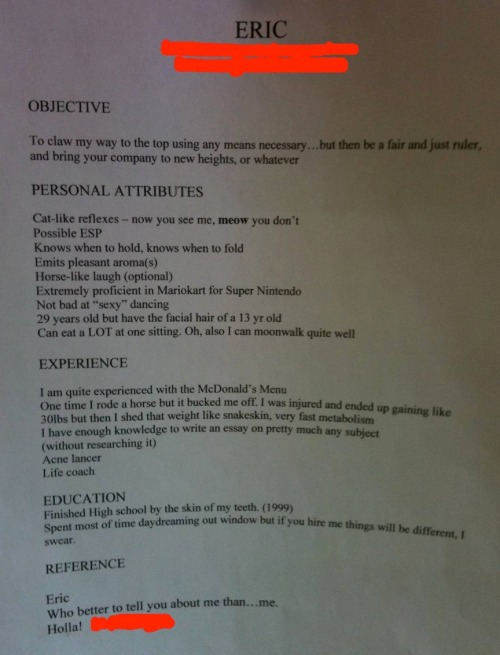 thedailywhat:  Impressive Resume of the Day: Dear companies: Please hire this man for every position. Sincerely, Awesome. [reddit.]